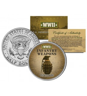 GRENADE - WWII Infantry Weapons - JFK Kennedy Half Dollar U.S. Coin