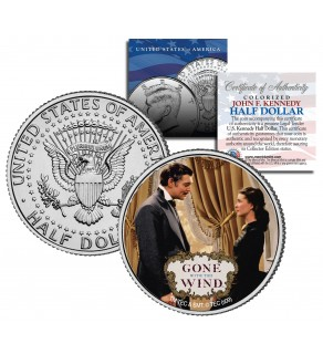 "Gone with the Wind "" Rhett & Scarlett "" JFK Kennedy Half Dollar US Colorized Coin - Officially Licensed"