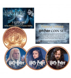 Harry Potter DEATHLY HALLOWS Colorized British Halfpenny 3-Coin Set (Set 5 of 6) - Officially Licensed
