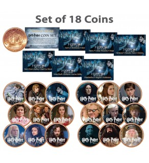 HARRY POTTER Deathly Hallows Colorized UK British Halfpenny ULTIMATE 18-Coin Set - Officially Licensed