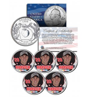 Lot of 5 KEVIN HARVICK Colorized Georgia Statehood Quarters U.S. Coins - Officially Licensed