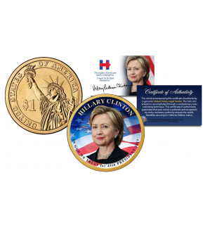 HILLARY CLINTON for 45th President of the United States 2016 Presidential $1 Golden Dollar Coin