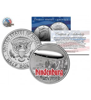 HINDENBURG LZ-129 AIRSHIP - Flying Over NYC - JFK Kennedy Half Dollar U.S. Colorized Coin
