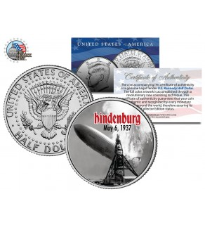 HINDENBURG LZ-129 AIRSHIP - DISASTER - May 6, 1937 - JFK Kennedy Half Dollar U.S. Colorized Coin