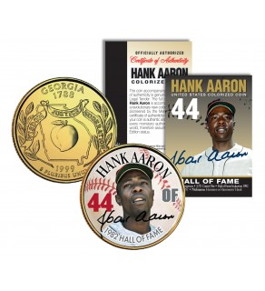 HANK AARON - Hall of Fame - Legends Colorized Georgia State Quarter 24K Gold Plated Coin