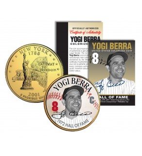 YOGI BERRA - Hall of Fame - Legends Colorized New York State Quarter 24K Gold Plated Coin