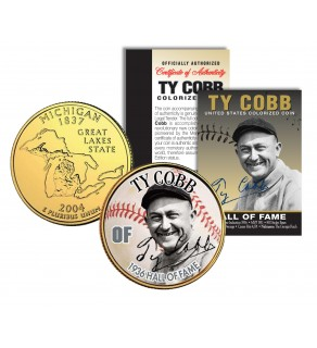 TY COBB - Hall of Fame - Legends Colorized Michigan State Quarter 24K Gold Plated Coin