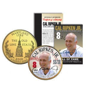 CAL RIPKEN JR - Hall of Fame - Legends Colorized Maryland State Quarter 24K Gold Plated Coin