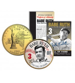 BABE RUTH - Hall of Fame - Legends Colorized New York State Quarter 24K Gold Plated Coin