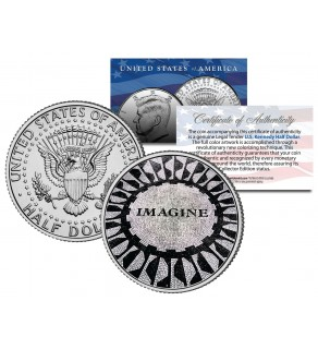 JOHN LENNON Strawberry Fields IMAGINE Mosaic - JFK Kennedy Half Dollar US Colorized Coin