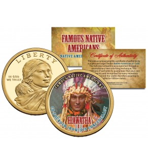 HIAWATHA - Famous Native Americans - Sacagawea Dollar Colorized US Coin - IROQUOIS Indians