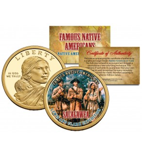 SACAGAWEA - Famous Native Americans - Sacagawea Dollar Colorized US Coin - LEWIS AND CLARK EXPEDITION Indians