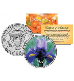 IRIS FLOWER JFK Kennedy Half Dollar U.S. Colorized Coin