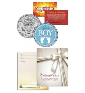 IT'S A BOY - Baby Gift - Keepsake JFK Kennedy Half Dollar US Colorized Coin