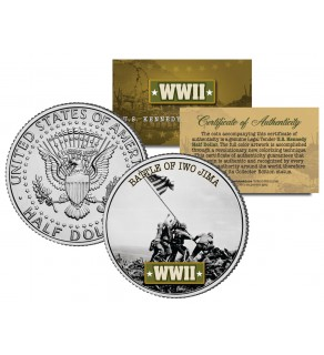 World War II - BATTLE OF IWO JIMA - JFK Kennedy Half Dollar U.S. Coin