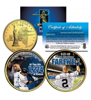 DEREK JETER Yankee Stadium Farewell New York State Quarters US 2-Coin Set 24K Gold Plated