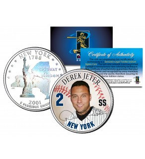 DEREK JETER New York State Quarter Colorized US Coin with Rare HOLOGRAM on back