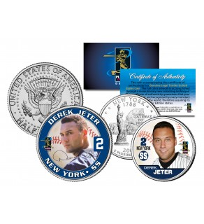 DEREK JETER Colorized New York Quarter & JFK Kennedy Half Dollar U.S. 2-Coin Set - Officially Licensed