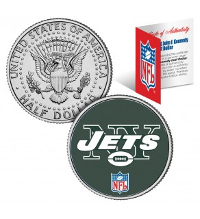 NEW YORK JETS NFL JFK Kennedy Half Dollar US Colorized Coin - Officially Licensed