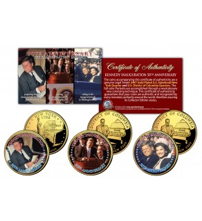 John F Kennedy - INAUGURATION 50th ANNIVERSARY - Statehood 24K Gold Plated Quarters US 3-Coin Set