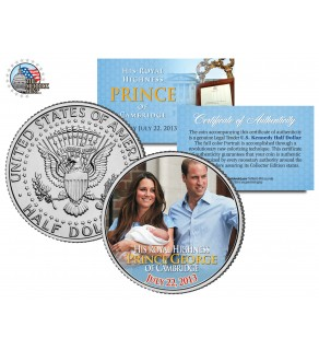 "ROYAL BABY "" Prince George of Cambridge "" - William & Kate - JFK Kennedy Half Dollar US Colorized Coin"
