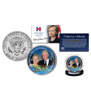 HILLARY & BILL CLINTON Democrat Presidential Campaign Official U.S. 2016 JFK Kennedy Half Dollar Coin