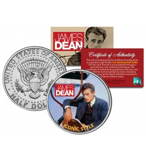 "JAMES DEAN "" Iconic Style "" JFK Kennedy Half Dollar US Coin - Officially Licensed"
