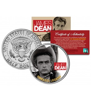 "JAMES DEAN "" Timeless Legend - Giant Movie "" JFK Kennedy Half Dollar US Coin - Officially Licensed"