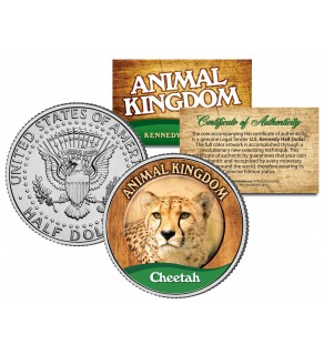 CHEETAH - Animal Kingdom Series - JFK Kennedy Half Dollar U.S. Colorized Coin