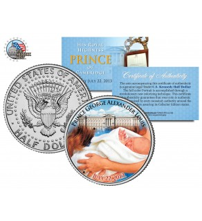 "ROYAL BABY "" His Royal Highness Prince George of Cambridge "" JFK Kennedy Half Dollar US Colorized Coin"