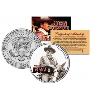 "JOHN WAYNE - THE DUKE "" True Grit "" JFK Kennedy Half Dollar US Coin - Officially Licensed"