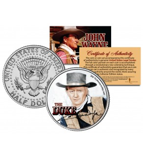 "JOHN WAYNE - THE DUKE "" Red River "" JFK Kennedy Half Dollar US Coin - Officially Licensed"