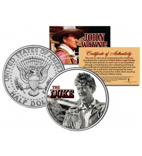 "JOHN WAYNE - THE DUKE "" The Alamo "" JFK Kennedy Half Dollar US Coin - Officially Licensed"