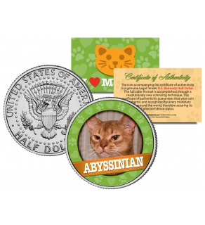 ABBYSSINIAN Cat JFK Kennedy Half Dollar U.S. Colorized Coin