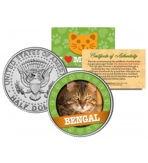 BENGAL Cat JFK Kennedy Half Dollar U.S. Colorized Coin