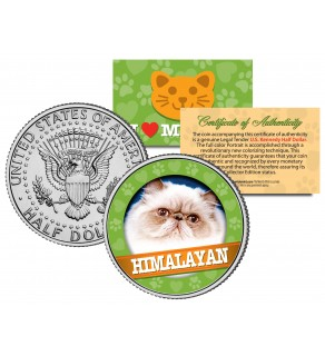 HIMALAYAN Cat JFK Kennedy Half Dollar U.S. Colorized Coin