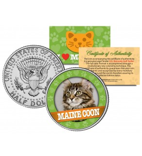 MAINE COON Cat JFK Kennedy Half Dollar U.S. Colorized Coin