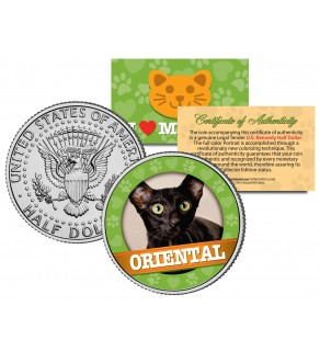 ORIENTAL Cat JFK Kennedy Half Dollar U.S. Colorized Coin