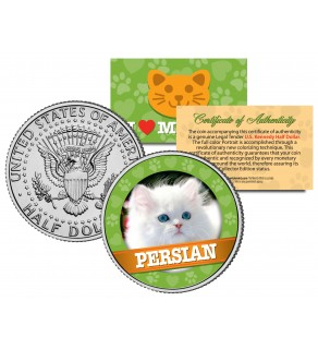 PERSIAN Cat JFK Kennedy Half Dollar U.S. Colorized Coin