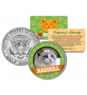 RAGDOLL Cat JFK Kennedy Half Dollar U.S. Colorized Coin