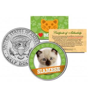 SIAMESE Cat JFK Kennedy Half Dollar U.S. Colorized Coin