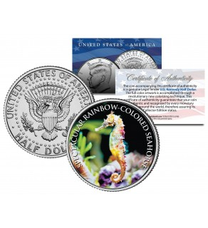 SPECTACULAR RAINBOW-COLORED SEAHORSE - Tropical Fish Series - JFK Kennedy Half Dollar U.S. Colorized Coin