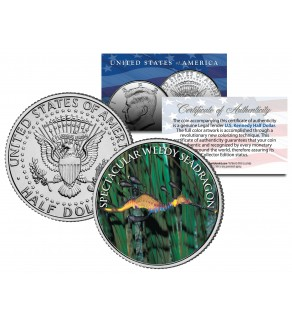 SPECTACULAR WEEDY SEADRAGON - Tropical Fish Series - JFK Kennedy Half Dollar U.S. Colorized Coin
