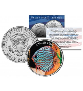 DISCUS FISH - Tropical Fish Series - JFK Kennedy Half Dollar U.S. Colorized Coin