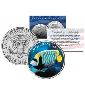 EMPEROR ANGELFISH - Tropical Fish Series - JFK Kennedy Half Dollar U.S. Colorized Coin
