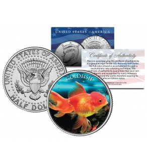 GOLDFISH  - Tropical Fish Series - JFK Kennedy Half Dollar U.S. Colorized Coin