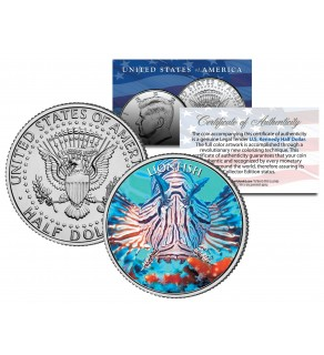 LIONFISH   - Tropical Fish Series - JFK Kennedy Half Dollar U.S. Colorized Coin