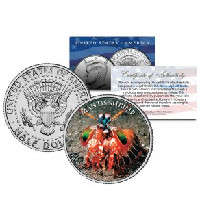 MANTIS SHRIMP - Tropical Fish Series - JFK Kennedy Half Dollar U.S. Colorized Coin