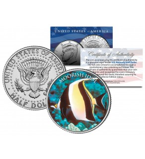 MOORISH IDOL FISH - Tropical Fish Series - JFK Kennedy Half Dollar U.S. Colorized Coin
