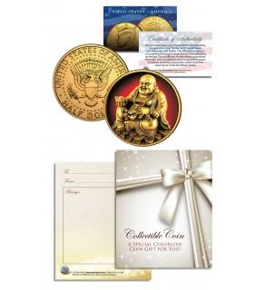 LAUGHING BUDDHA Budai JFK Kennedy Half Dollar 24K Gold Plated LUCKY COIN